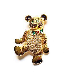 3/$25 Sparkly Rhinestone Teddy Bear Pin Brooch